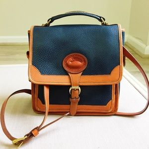 Dooney and Bourke Navy and British Tan leather bag